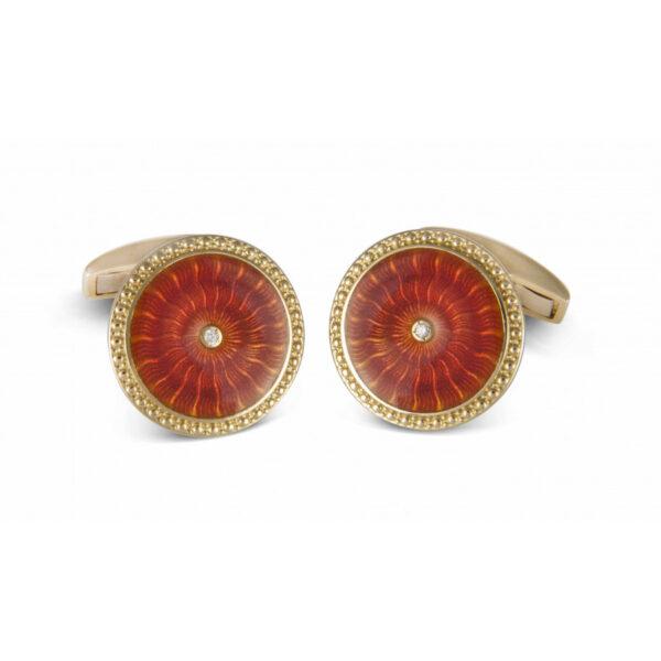 18ct Yellow Gold Round Cufflinks with Orange Enamel & Diamond Centre