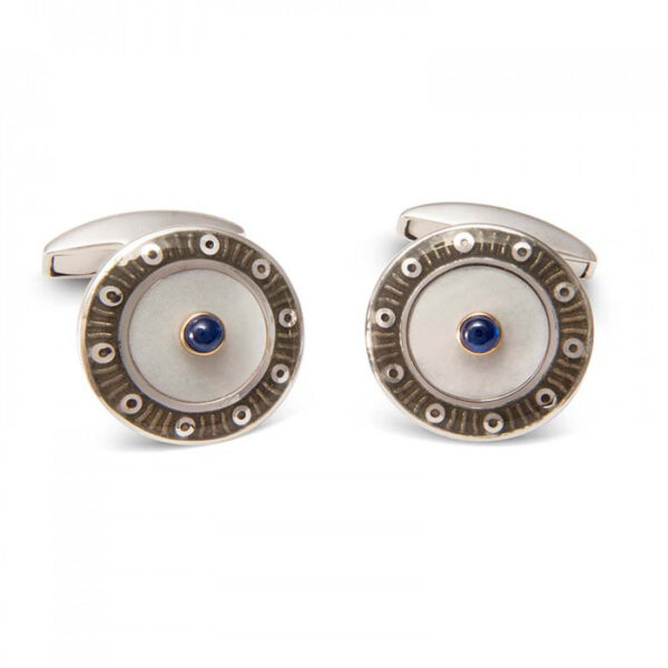 18ct White Gold Round Cufflinks with Dark Grey Border & Mother of Pearl and Sapphire Centre