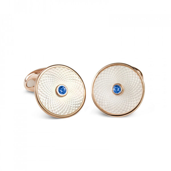 Sterling Silver White Mother-of-Pearl Cufflinks with a Blue Sapphire Gemstone