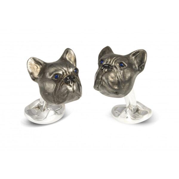 Sterling Silver Oxidised French Bulldog Cufflinks
