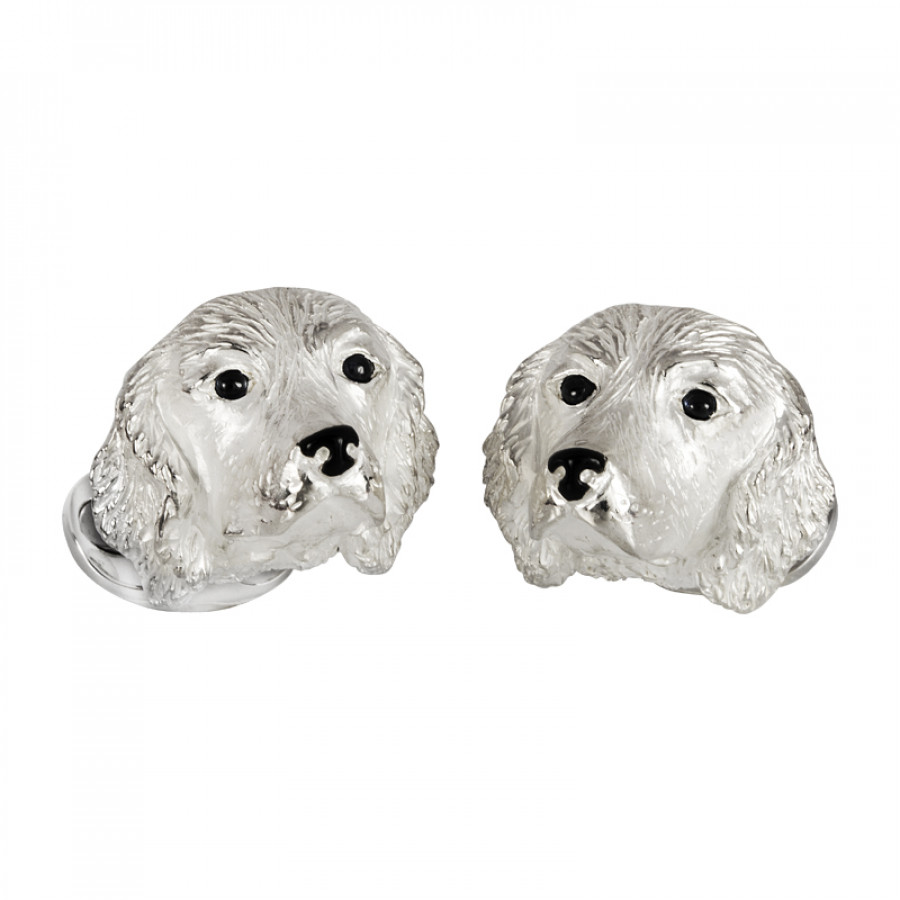 Sterling Silver Spaniel Dog Cufflinks