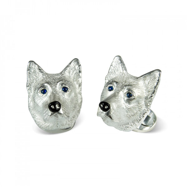 Sterling Silver German Shepherd Dog Cufflinks