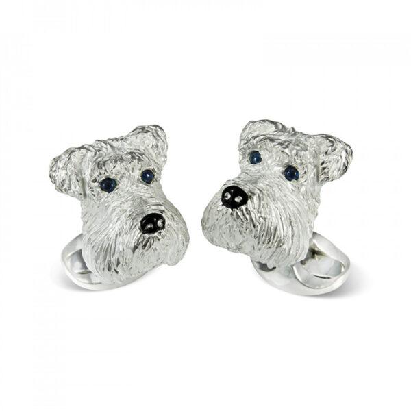 Sterling Silver Schnauzer Dog Cufflinks