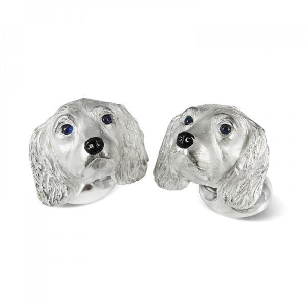 Sterling Silver King Charles Spaniel Dog Cufflinks