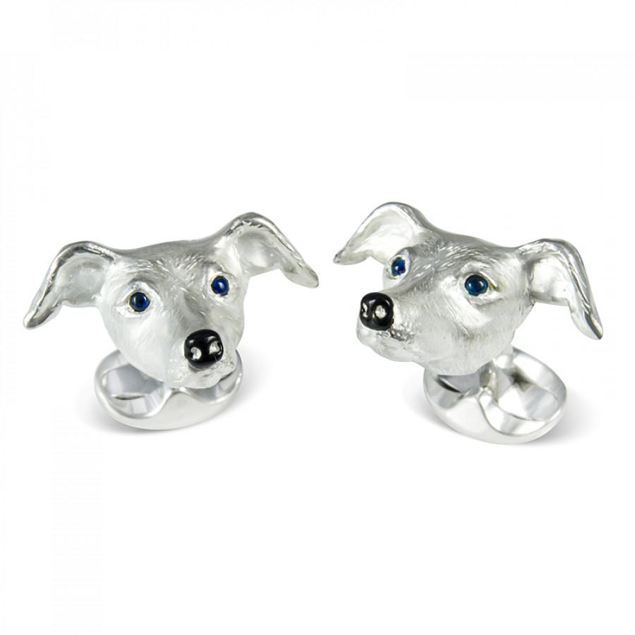 Sterling Silver Whippet Dog Cufflinks