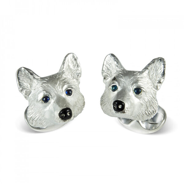 Sterling Silver Corgi Dog Cufflinks