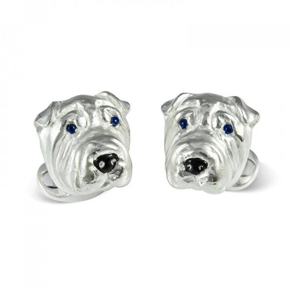 Sterling Silver Sharpei Dog Cufflinks