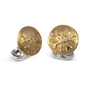 Sterling Silver 230 Coin Cufflinks - Skull & Cross Bones