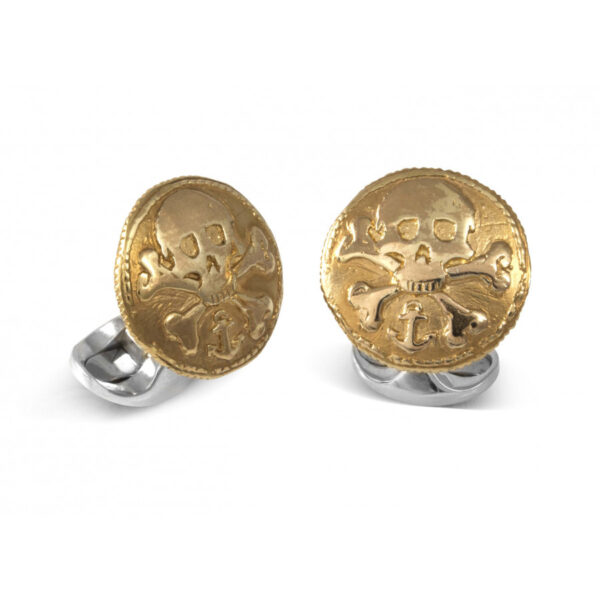 Sterling Silver 230 Coin Cufflinks - Skull & Cross Bones