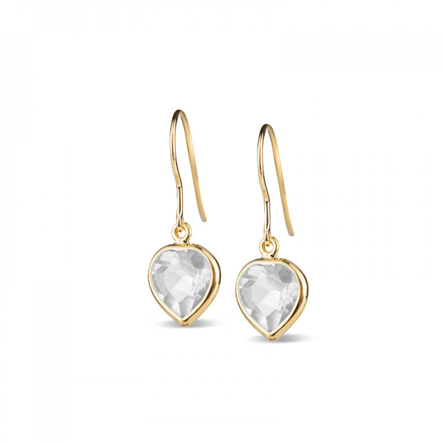 Leora Heart Shaped White Topaz Drop Earring