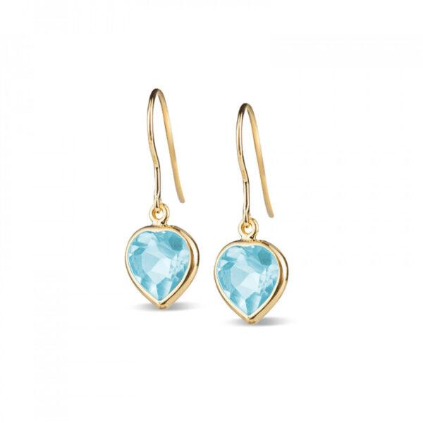 Leora Heart Shaped Blue Topaz Drop Earring