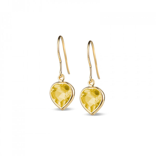 Leora Heart Shaped Lemon Quartz Drop Earring