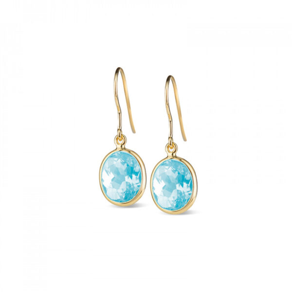 Leora Oval Shaped Blue Topaz Drop Earring