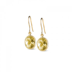 Leora Oval Shaped Lemon Quartz Drop Earring