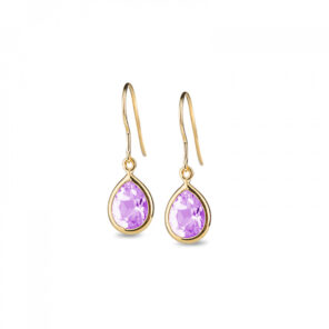 Leora Teardrop Shaped Amethyst Drop Earring