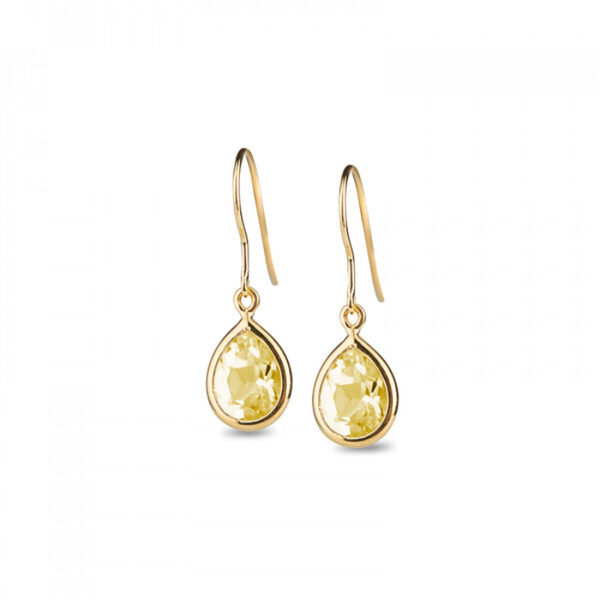 Leora Teardrop Shaped Lemon Quartz Drop Earring