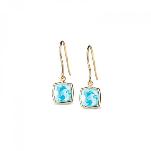 Leora Cushion Shaped Blue Topaz Drop Earring