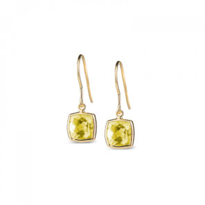 Leora Cushion Shaped Lemon Quartz Drop Earring