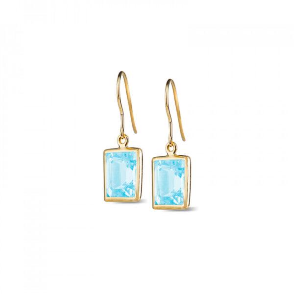 Leora Rectangle Shaped Blue Topaz Drop Earring