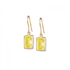 Leora Rectangle Shaped Lemon Quartz Drop Earring