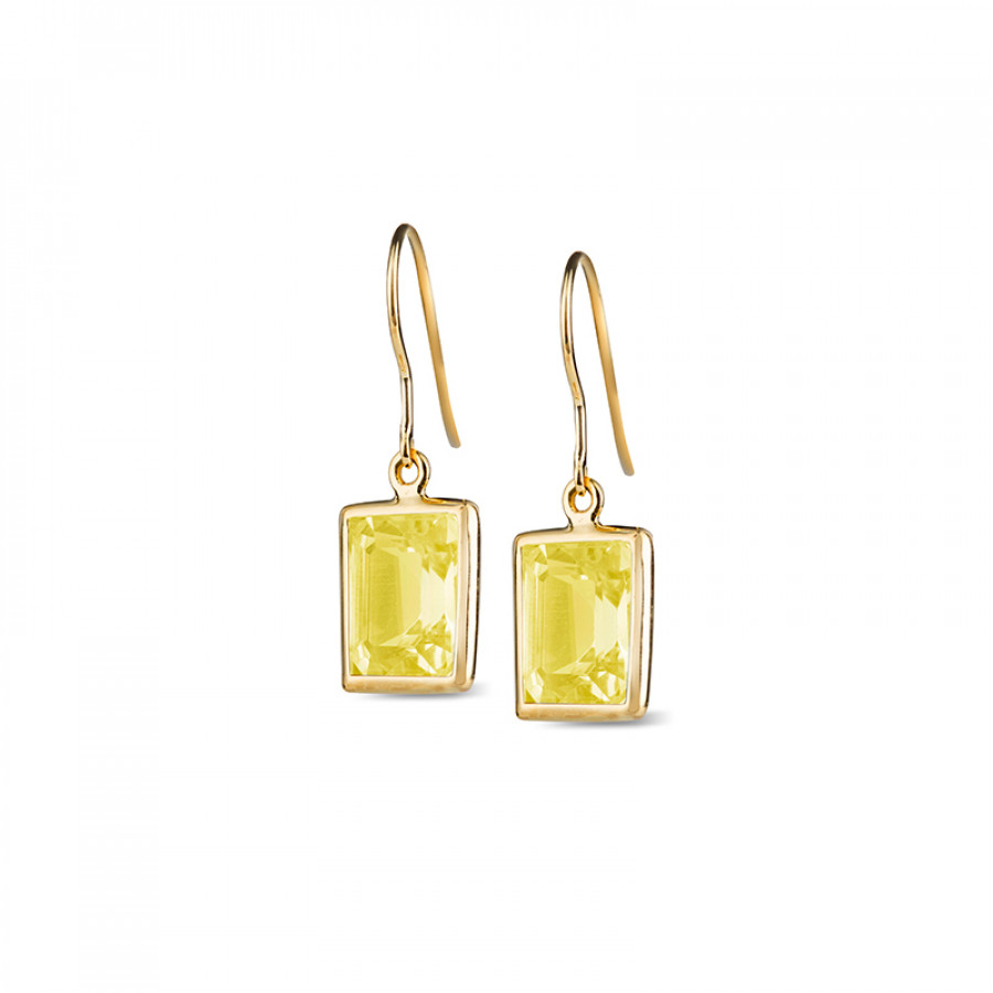 Leora Rectangle Shaped Lemon Quartz Drop Earring