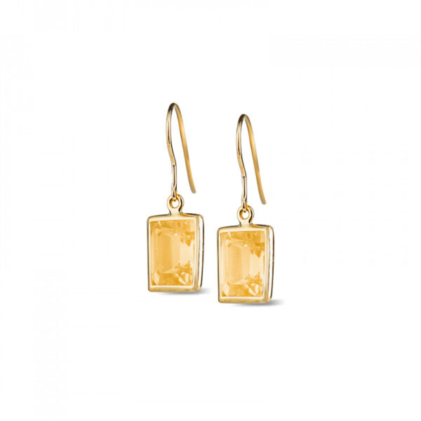 Leora Rectangle Shaped Citrine Drop Earring