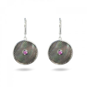 Grey Mother of Pearl Dreamcatcher Earrings with Pink Sapphire Gem