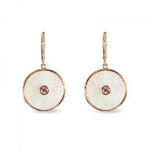 White Mother of Pearl Dreamcatcher Earrings with Pink Sapphire Gem