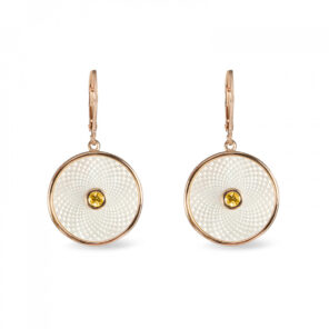 White Mother of Pearl Dreamcatcher Earrings with Yellow Sapphire Gem