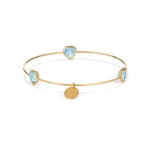Leora Heart Shaped Gemstone Bangle in Blue Topaz