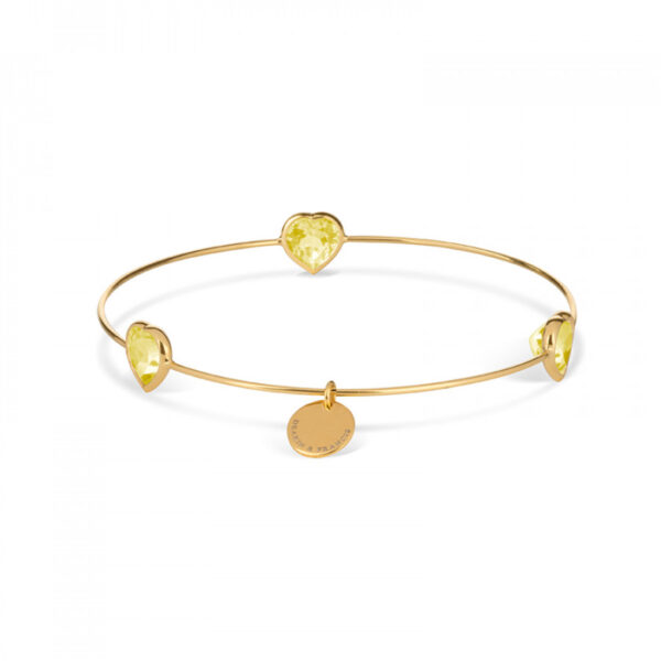 Leora Heart Shaped Gemstone Bangle in Lemon Quartz