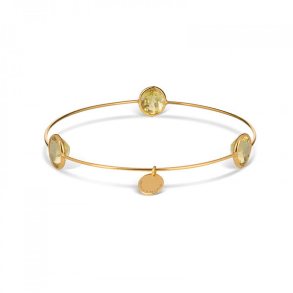 Leora Oval Shaped Gemstone Bangle in Lemon Quartz