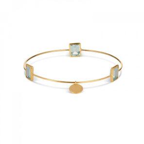 Leora Rectangle Shaped Gemstone Bangle in Blue Topaz