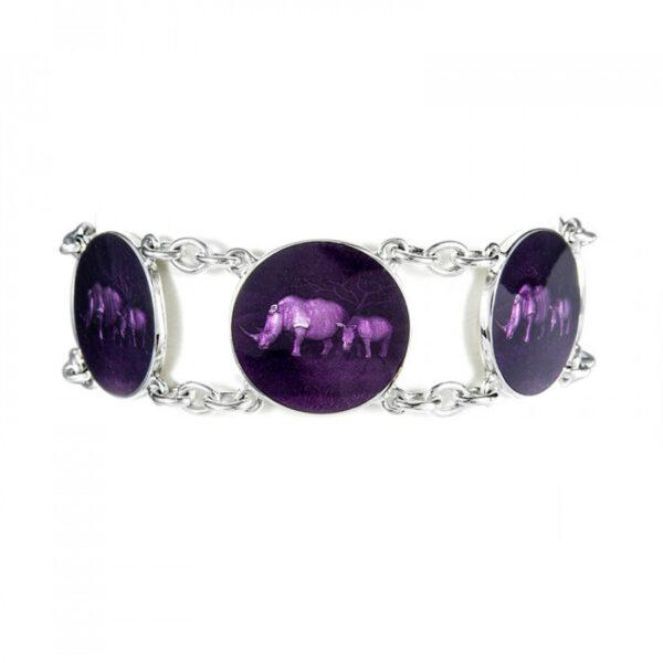 Sterling Silver Rhino 6 Disc Purple Enamel Bracelet