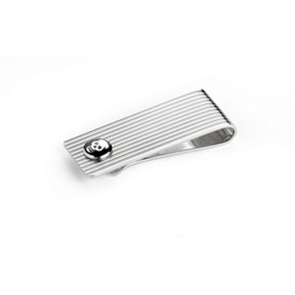 Sterling Silver Engine Turned Money Clip with Enamel Skull