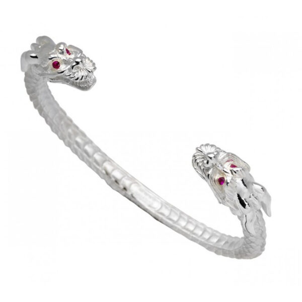 Sterling Silver Dragon Bangle With Ruby Eyes