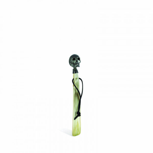 Travel Size Shoehorn with Matte Black Skull Head