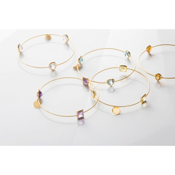 Leora Heart Shaped Gemstone Bangle in Citrine
