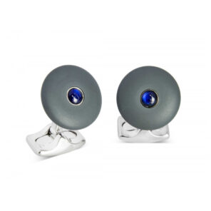 'The Brights' Grey Round Cufflinks with Sapphire Centre