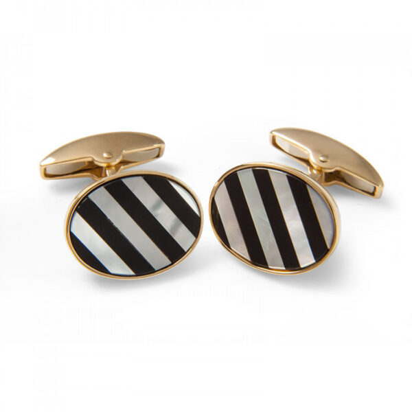 18ct Yellow Gold Precious Gemstone Striped Cufflinks in Mother-of-Pearl & Onyx