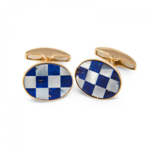 18ct Yellow Gold Lapis Lasuli and Mother-of-Pearl Checker-board Cufflinks