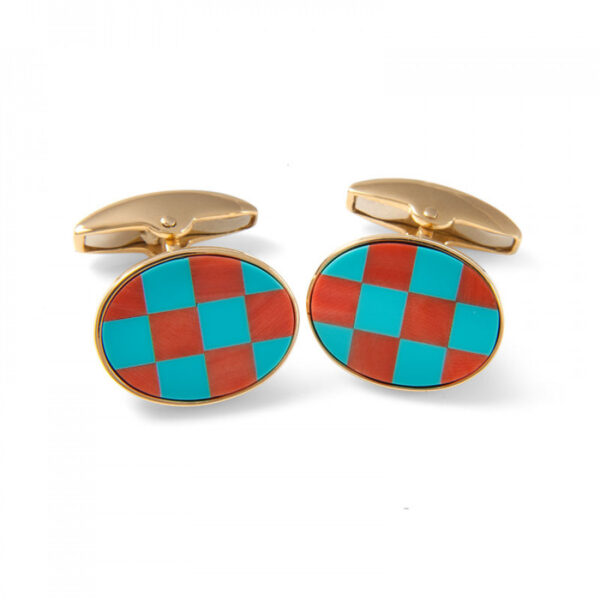 18ct Yellow Gold Precious Gemstone Checkerboard Cufflinks in Coral & Turquoise