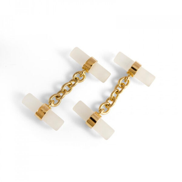 18ct Gold Crystal Tube Cufflinks
