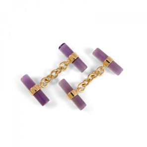 18ct Yellow Gold Amethyst Chain Link Cufflinks