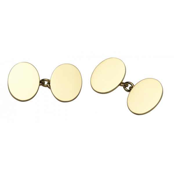 18ct Gold Plain Oval Cufflinks