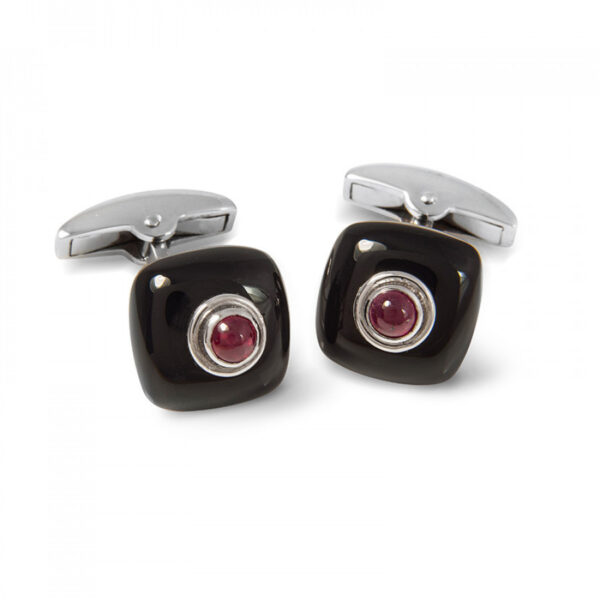 18ct White Gold Onyx Bouton Cufflinks with a Ruby Centre