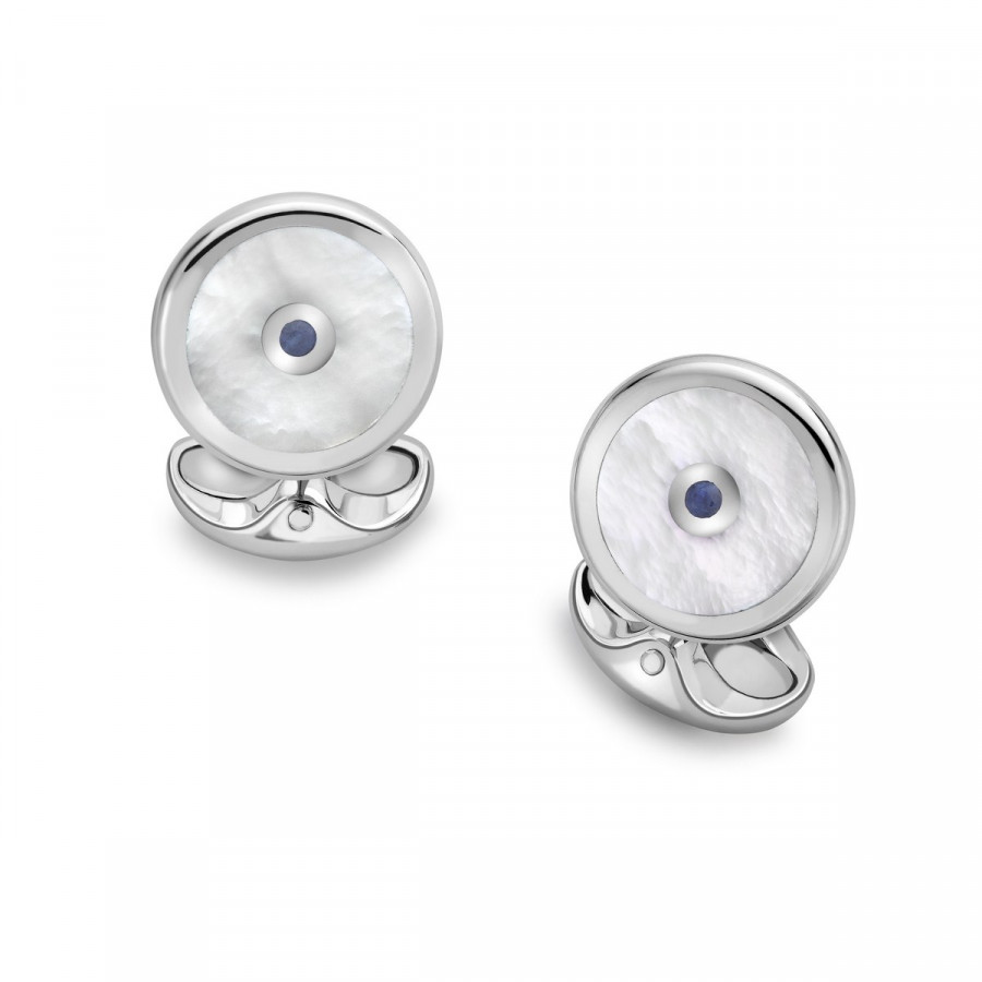 Sterling Silver Round Cufflinks with Mother-of-Pearl and Sapphire