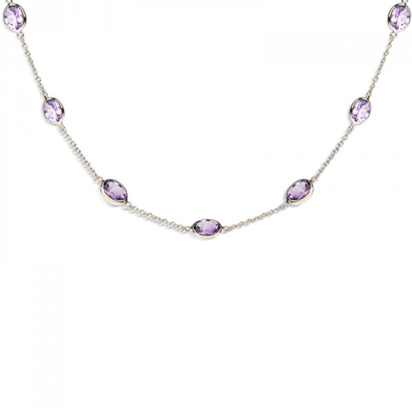 18ct White Gold Amethyst Gemstone Necklace