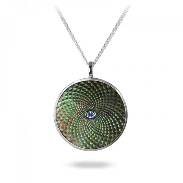 Sterling Silver Large Pendant with Grey Mother-of-Pearl and Blue Sapphire Gem
