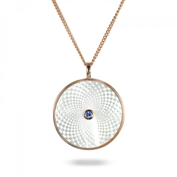 Sterling Silver Large Pendant with White Mother-of-Pearl and Blue Sapphire Gem
